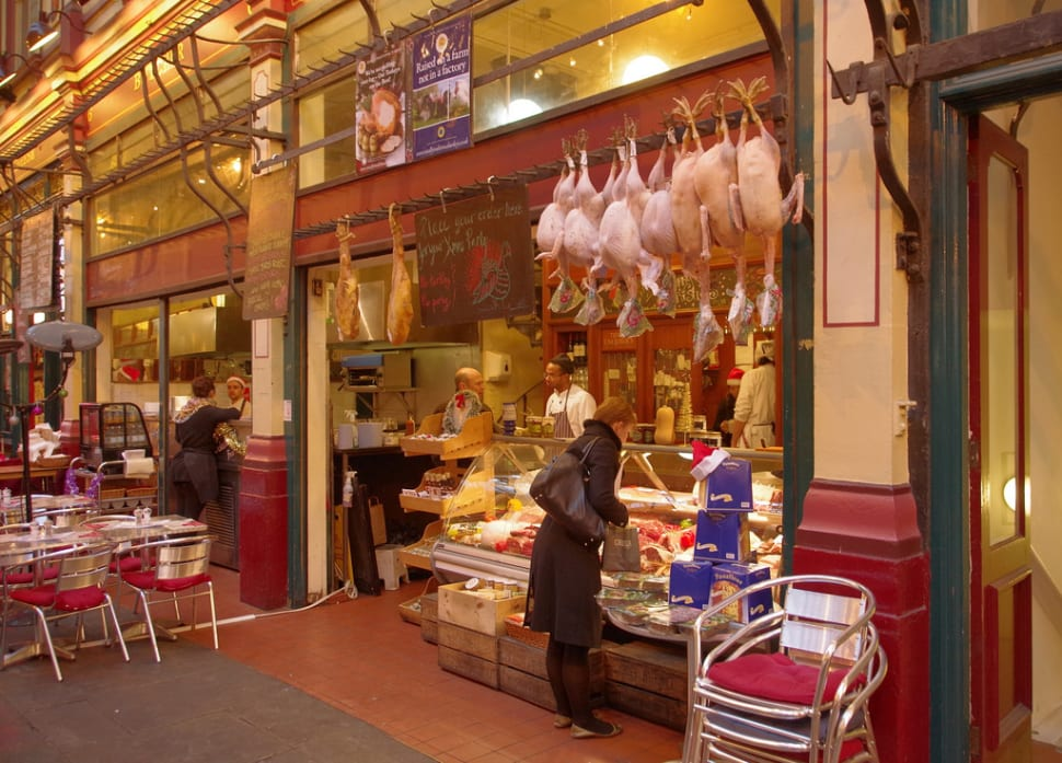 A butcher's selling Christmas turkeys in Leadenhall Market