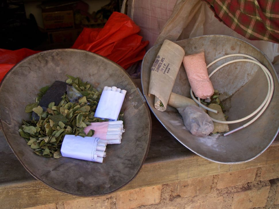 Before we went in we bought gifts for the miners. This included, coca leaves for chewing, hand rolled cigarettes, explosives, a detonator and a fuse! (c)