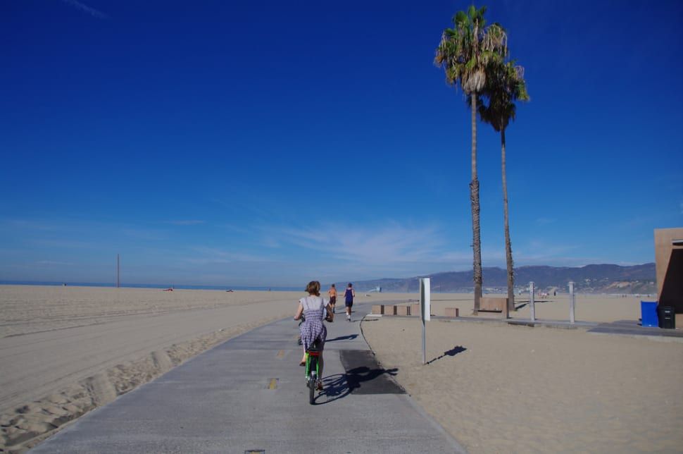 Cycling on Will Rogers State Beach, Santa Monica Bay