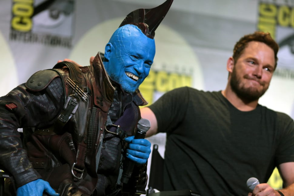 "Michael Rooker and Chris Pratt speaking at the 2016 San Diego Comic Con International, for ""Guardians of the Galaxy Vol. 2"""