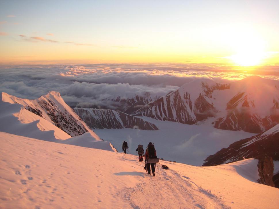 Descending Mt. McKinley in Midnight Sun