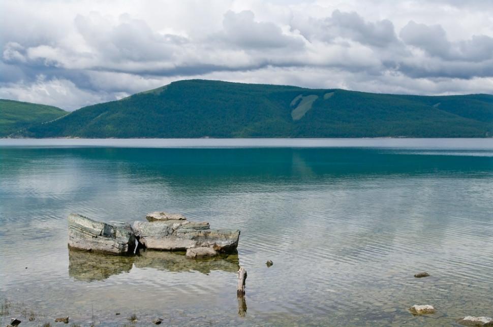 Rocks on the Lake Khövsgöl