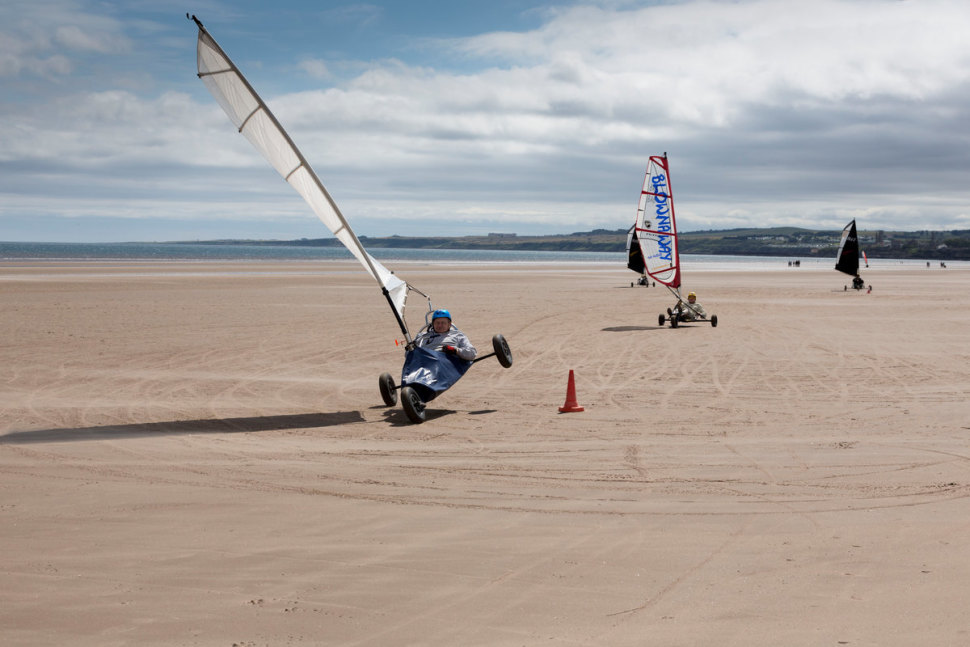 Land yachting on West Sands beach, St Andrews, Fife