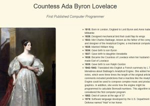 Ada Lovelace Tribute Page