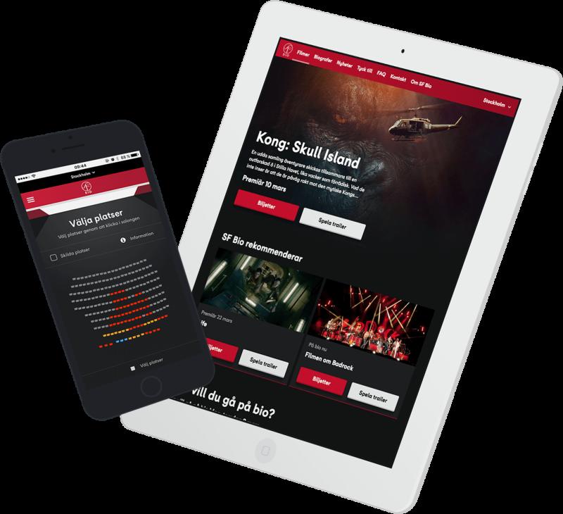 Mobil och tablet med bilder på SFs hemsida