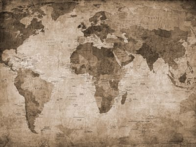 Mural de pared R10772 World Map, brown imagen 1 por Rebel Walls