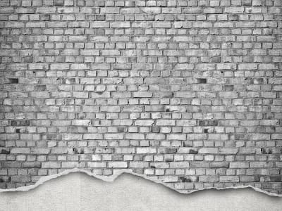Tapete R12224 Well-Worn Brick Wall, white Bild 1 von Rebel Walls