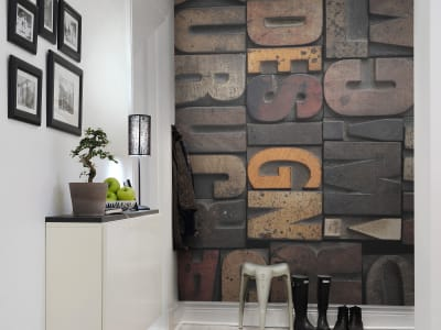 Murale R10511 Woodcut, Design ​​immagine 1 di Rebel Walls