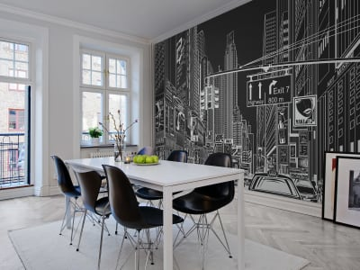 Tapete R10622 Cartoon City, black Bild 1 von Rebel Walls
