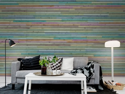 Mural de pared R12032 Wooden Slats, colourful imagen 1 por Rebel Walls