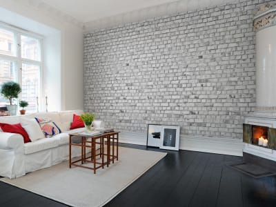 Murale R10963 Brick Wall, white ​​immagine 1 di Rebel Walls