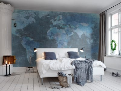 Mural de pared R10773 World Map, blue imagen 1 por Rebel Walls