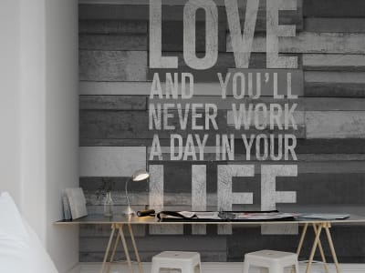 Tapete R12403 Quotes, wood wall Bild 1 von Rebel Walls