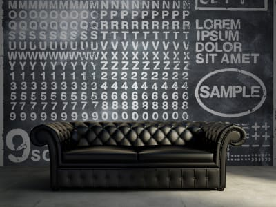 Wall Mural R12261 Rubber Stamp, black image 1 by Rebel Walls