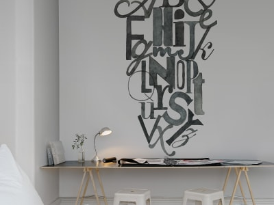 Wall Mural R12491 Ink Letters image 1 by Rebel Walls