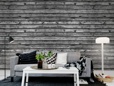 Mural de pared R12584 Horizontal Boards, black imagen 1 por Rebel Walls