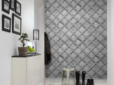 Mural de pared R12782 Concrete Trellis, grey imagen 1 por Rebel Walls