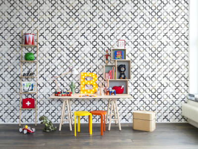 Tapet R14042 Patchwork Play, Grey bilde 1 av Rebel Walls