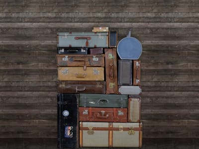 Tapete R14063 Stacked Suitcases, Pile Bild 1 von Rebel Walls
