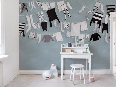 Mural de pared R14442 Laundry Day, Blue imagen 1 por Rebel Walls