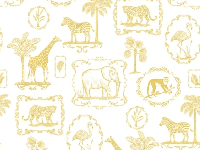 Mural de pared R15272 Animal Party, Yellow imagen 1 por Rebel Walls
