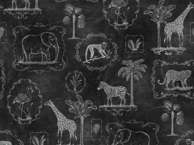 Mural de pared R15273 Animal Party, Blackboard imagen 1 por Rebel Walls