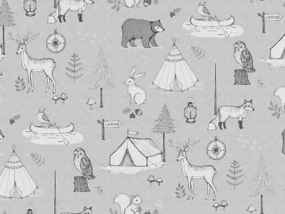 Wall Mural R15312 Camping Trip, Grey image 1 by Rebel Walls