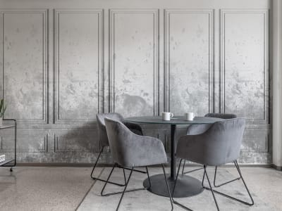 Kuvatapetti R15383 PATINATED PANELS, SMOKE kuva 1 Rebel Wallsilta