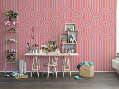 Mural de pared R16283 Happy Hills, Bubble Gum imagen 1 por Rebel Walls