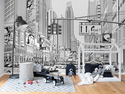 Tapet R10621 Cartoon City bilde 1 av Rebel Walls