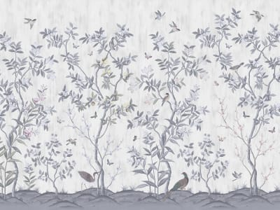 ミューラル壁紙 R16741 Chinoiserie Chic, Pearl Gray 画像 1 by Rebel Walls