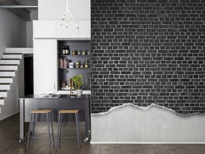 Tapete R12222 Well-Worn Brick Wall, black Bild 1 von Rebel Walls