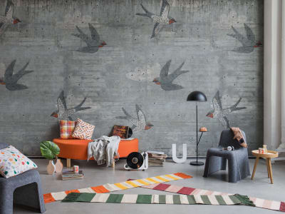 Kuvatapetti R16971 Concrete Art, Swallow kuva 1 Rebel Wallsilta