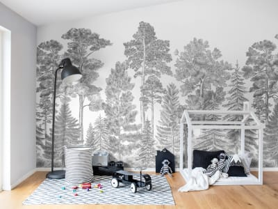 ミューラル壁紙 R17201 Scandinavian Bellewood, Gray 画像 1 by Rebel Walls