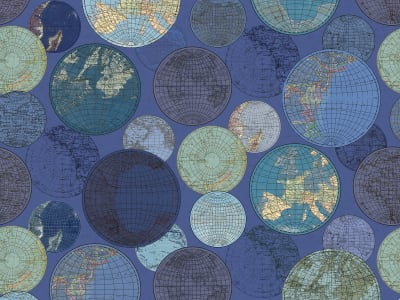 ミューラル壁紙 R13883 GLOBES GATHERING, BLUE 画像 1 by Rebel Walls