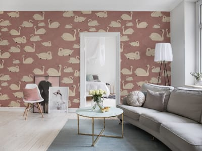 Mural de pared R17122 Cygne, Rose imagen 1 por Rebel Walls