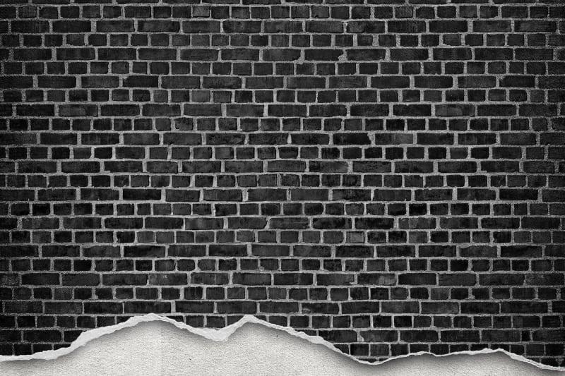 Well Worn Brick Wall Black R12222 Rebel Walls
