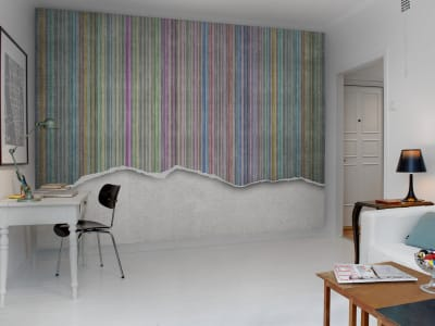 Wall Mural R10362 Worn Wall, Multi Stripe image 1 by Rebel Walls