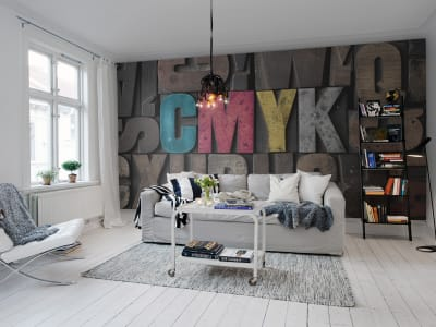 Mural de pared R10491 Woodcut, CMYK imagen 1 por Rebel Walls