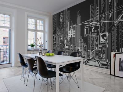 Mural de pared R10622 Cartoon City, black imagen 1 por Rebel Walls