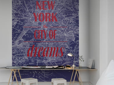 Wall Mural R10902 Map of Dreams, blue image 1 by Rebel Walls