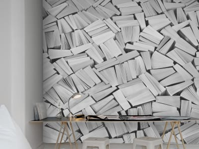 Mural de pared R11513 Books, white imagen 1 por Rebel Walls