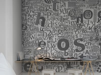 Mural de pared R12161 Newspaper Letters imagen 1 por Rebel Walls
