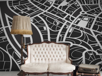 Mural de pared R12432 Roadways, black&white imagen 1 por Rebel Walls