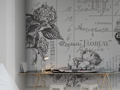 Décor Mural R12642 Floréal, black&white image 1 par Rebel Walls