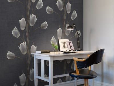 Tapet R13061 La Vie En Tulipe, Black bilde 1 av Rebel Walls