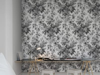 Wall Mural R13252 Bouquet, Black image 1 by Rebel Walls