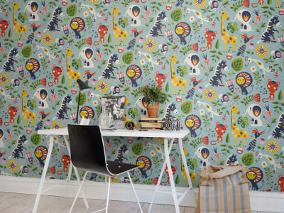 Wall Mural R50805 Jungle Folklore, Blue image 1 by Rebel Walls