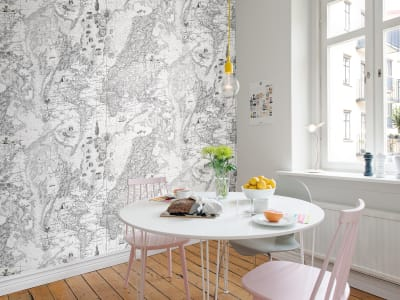 Wall Mural R13863 Treasure Hunt,  Black and white image 1 by Rebel Walls
