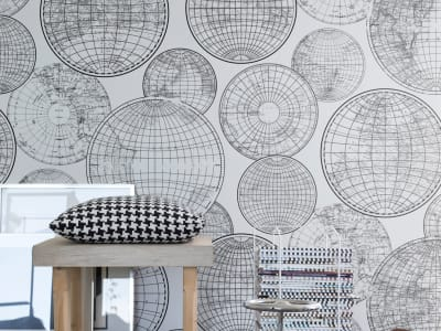 Murale R13882 Globes Gathering, Black and white ​​immagine 1 di Rebel Walls